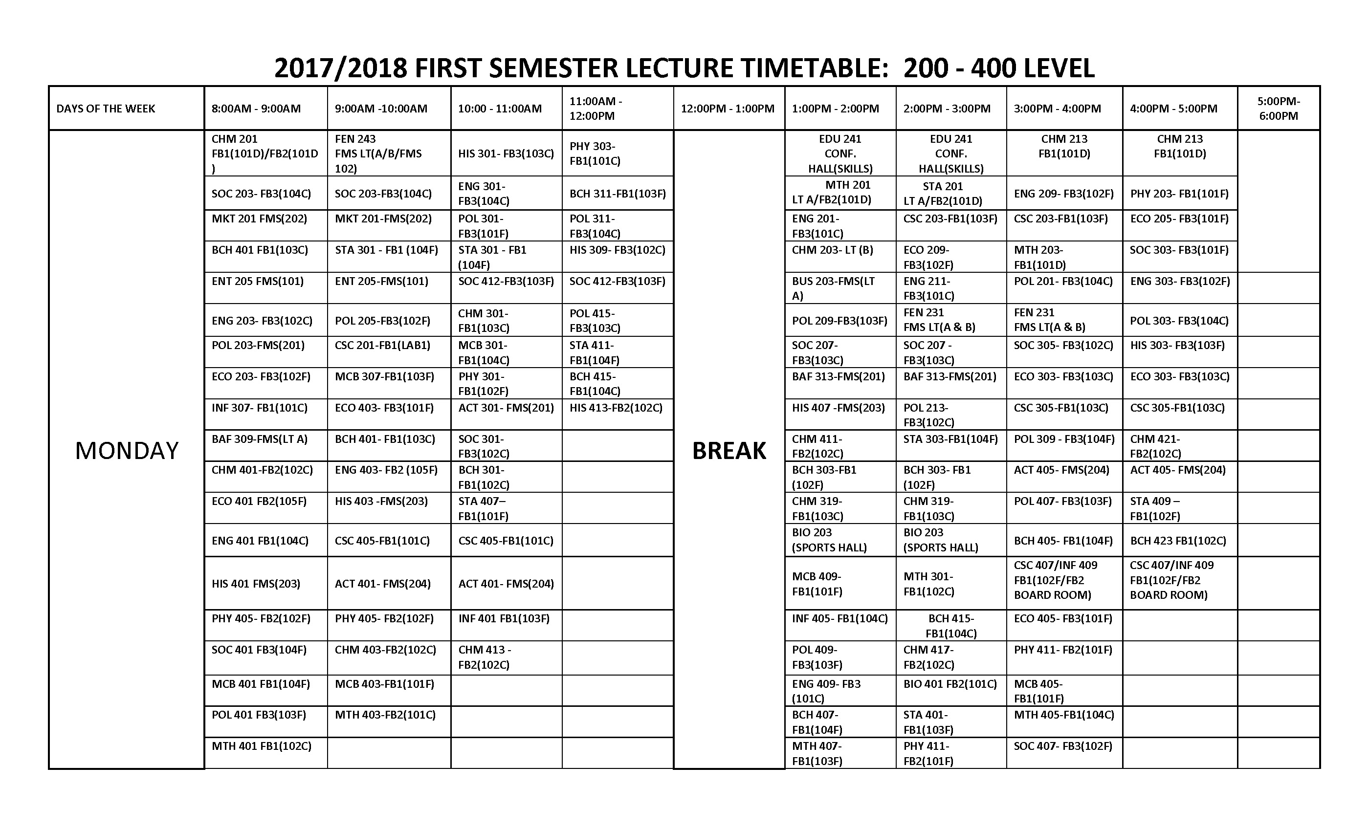 FUOTUOKE Lecture Timetable