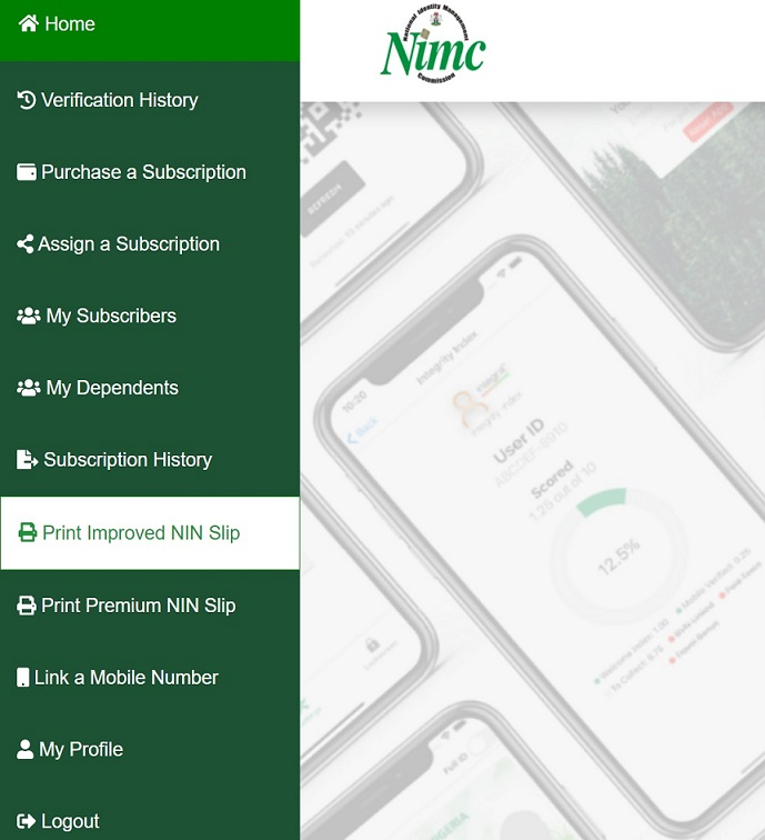 Improved NIN Slip print option on the online portal