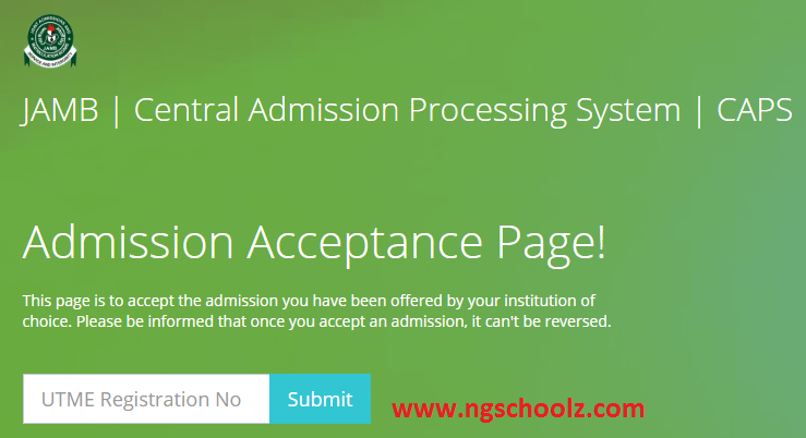 Check Admission Status on JAMB CAPS Acceptance Page