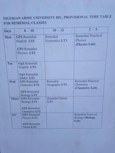 NAUB Remedial Programme Lecture Timetable