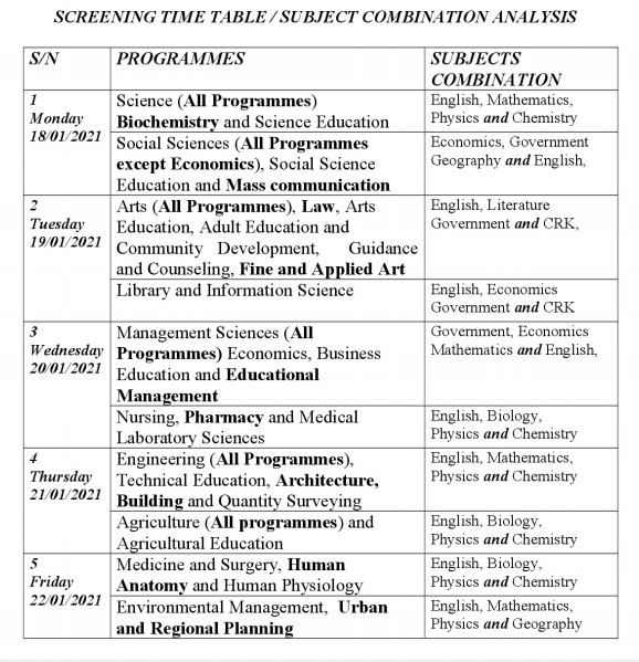 NDU Post UTME Screening Timetable