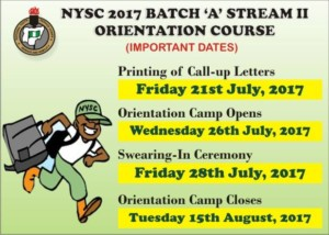 NYSC Orientation Course Date