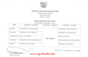 Nigerian Law School Resit Bar II Revision Time-Table