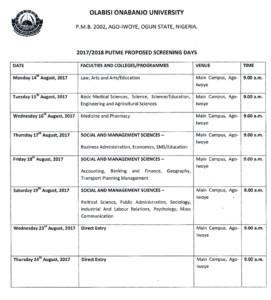 OOU Admission Screening Date