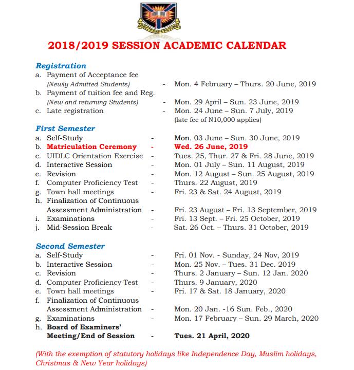 UI DLC Academic Calendar
